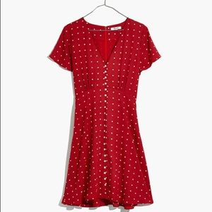 NWT Red Grid Dot Button Front Swing Dress